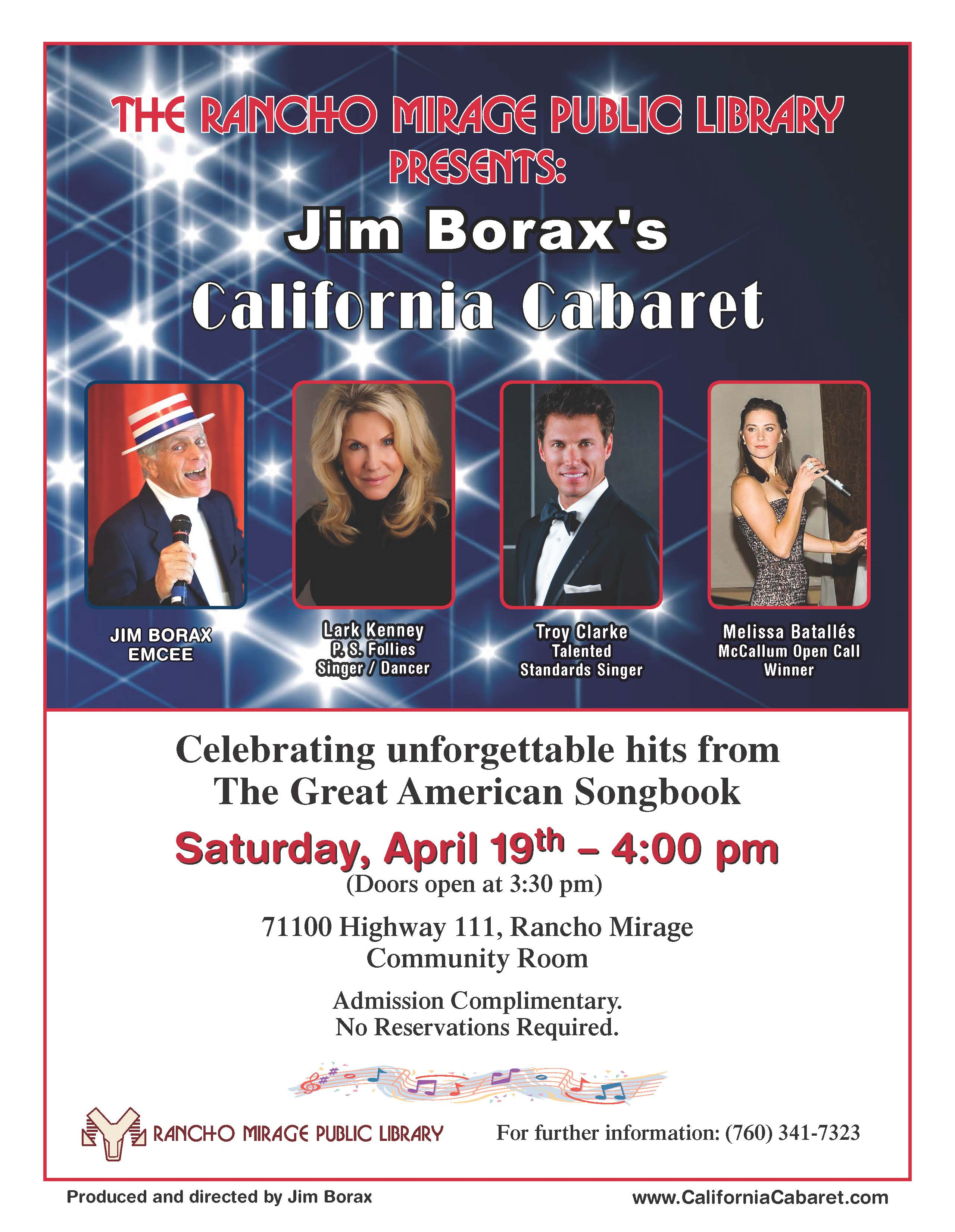 California Cabaret - Rancho Mirage Public Library Flyer